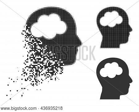 Disintegrating Dot Head Brain Icon With Halftone Version. Vector Destruction Effect For Head Brain I