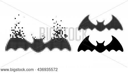 Burst Pixelated Bat Mouse Pictogram With Halftone Version. Vector Destruction Effect For Bat Mouse P