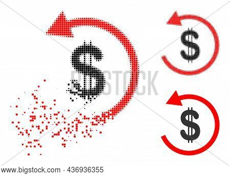 Moving Pixelated Dollar Refund Glyph With Halftone Version. Vector Wind Effect For Dollar Refund Pic