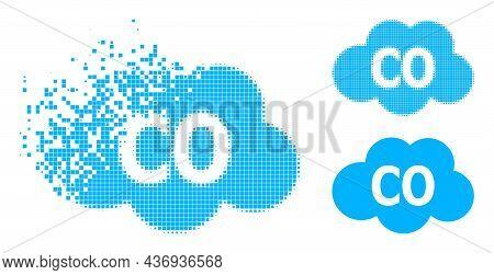 Broken Pixelated Carbon Monoxide Icon With Halftone Version. Vector Destruction Effect For Carbon Mo