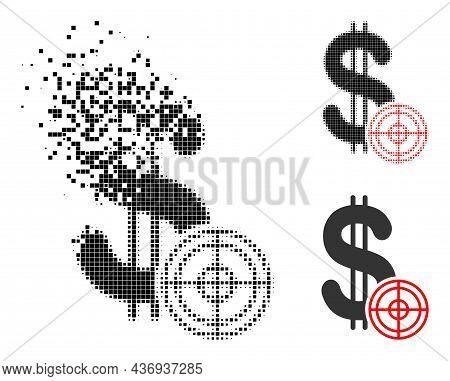 Dust Dotted Dollar Target Pictogram With Halftone Version. Vector Destruction Effect For Dollar Targ