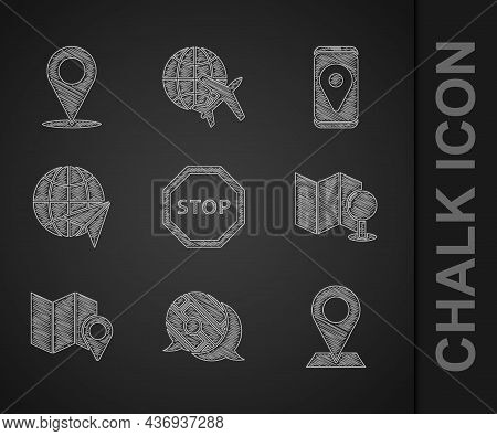 Set Stop Sign, Infographic Of City Map Navigation, Location, Folded With Push Pin, Location Marker,