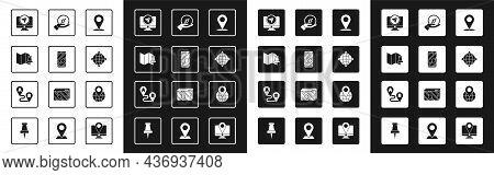 Set Location, City Map Navigation, Folded With Push Pin, Monitor Location Marker, World Globe Compas