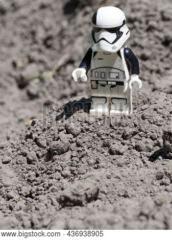 Chernihiv, Ukraine, July 13, 2021. A Macro Image Of An Imperial Stormtrooper Figurine From Star Wars