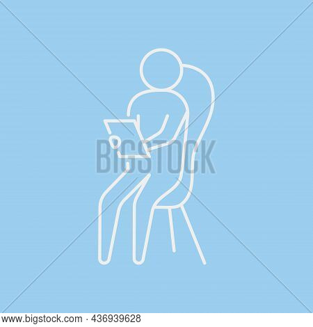 Psychotherapy Session Line Icon Concept. Psychologist Sits On Chair With Notebook Outline Stroke Ele