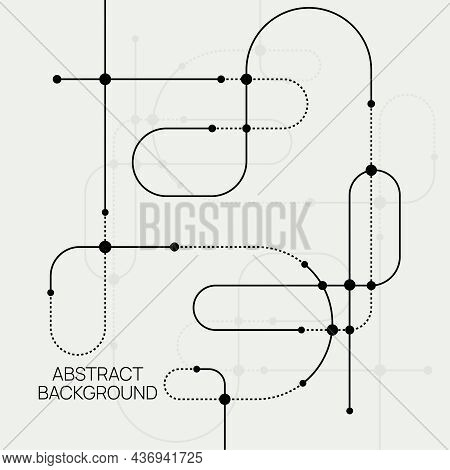 Vector Abstract Background With Connected Curved Lines And Dots. Molecule And Communication Backgrou