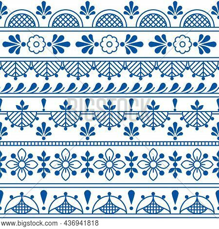 Scandinavian Textile Or Fabric Print Vector Seamless Pattern With Flowers, Traditional Folk Outline