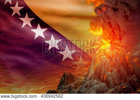 High Volcano Blast Eruption At Night With Explosion On Bosnia And Herzegovina Flag Background, Troub