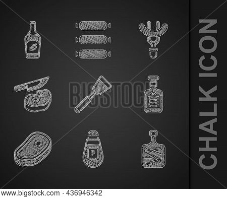 Set Spatula, Pepper, Cutting Board, Sauce Bottle, Steak Meat, And Knife, Sausage On The Fork And Ket