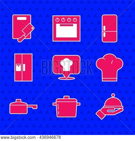 Set Chef Hat With Location, Cooking Pot, Covered Tray, Frying Pan, Refrigerator, And Cutting Board A