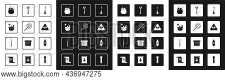 Set Witches Broom, Magic Wand, Cauldron, Masons, Wizard Warlock And Icon. Vector