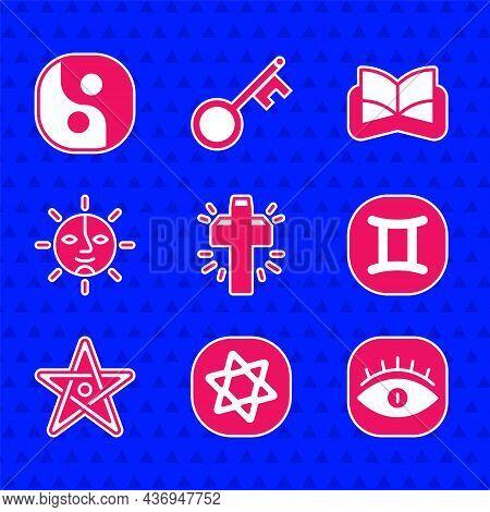 Set Christian Cross, Tarot Cards, Masons, Gemini Zodiac, Pentagram, Sun, Ancient Magic Book And Yin