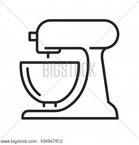 Monochrome Stationary Mixer Icon Line Vector Illustration Kitchen Electronic Appliance For Mixing