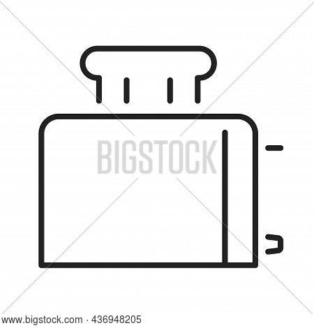 Monochrome Toaster Icon Line Vector Illustration. Simple Logo Household Appliance Roasting Bread