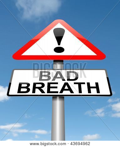 Illustration depicting a sign with a bad breath concept. poster