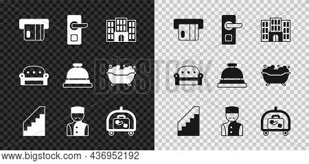 Set Credit Card, Digital Door Lock, Hotel Building, Stairs, Concierge, Luggage Cart, Sofa And Servic