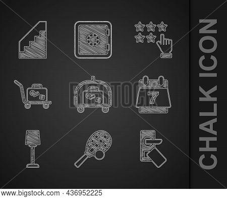 Set Hotel Luggage Cart, Tennis Racket With Ball, Digital Door Lock, Booking Calendar, Table Lamp, Tr
