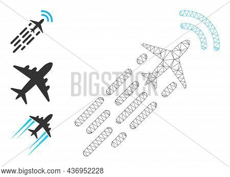 Web Network Supersonic Airplane Flight Vector Icon, And Bonus Icons. Flat 2d Carcass Created From Su