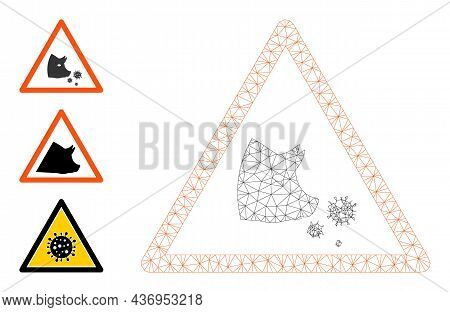 Web Mesh Pork Flu Warning Vector Icon, And Additional Icons. Flat 2d Carcass Created From Pork Flu W
