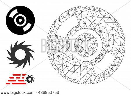 Web Carcass Cd Disc Vector Icon, And Additional Icons. Flat 2d Carcass Created From Cd Disc Pictogra