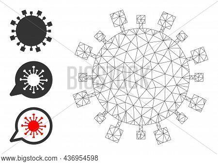 Web Mesh Digital Virus Vector Icon, And Bonus Icons. Flat 2d Carcass Created From Digital Virus Pict