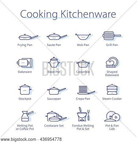 Cooking Kitchenware Set. Frying, Wok, Grill, Pan