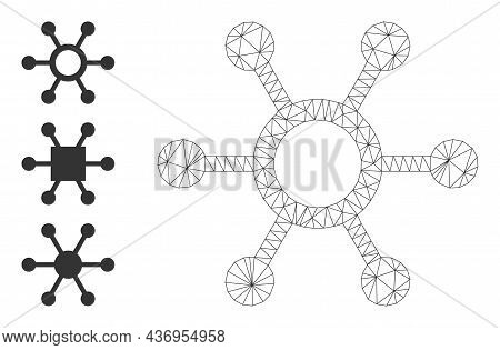 Web Net Central Links Vector Icon, And Additional Icons. Flat 2d Carcass Created From Central Links