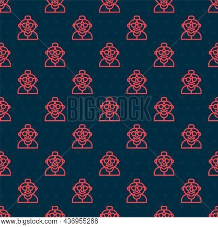 Red Line Grandmother Icon Isolated Seamless Pattern On Black Background. Vector