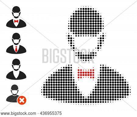 Dot Halftone Boss Mask Icon, And Bonus Icons. Vector Halftone Mosaic Of Boss Mask Icon Made Of Circl