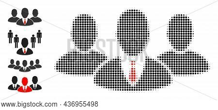 Pixelated Halftone Boss Group Icon, And Other Icons. Vector Halftone Composition Of Boss Group Symbo