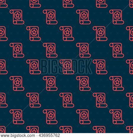Red Line Magic Scroll Icon Isolated Seamless Pattern On Black Background. Decree, Paper, Parchment,