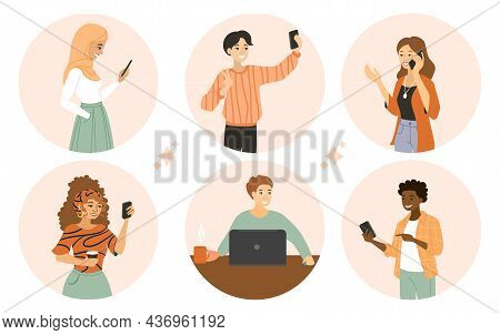 People Use Devices. Collection Of Images With People Who Use Gadgets. Avatars Of People With Phones