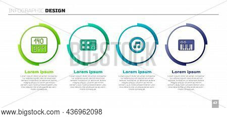 Set Bitrate, Drum Machine, Music Note, Tone And Synthesizer. Business Infographic Template. Vector