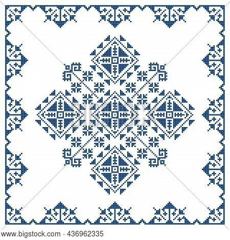 Bosnia And Herzegovina Traditional Zmijanje Embroidery Folk Art Vector Pattern, Geometric Design Wit