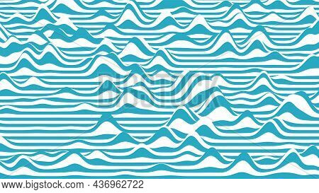 Trendy 3d Blue And White Stripes Distorted Backdrop. Procedural Ripple Background With Optical Illus