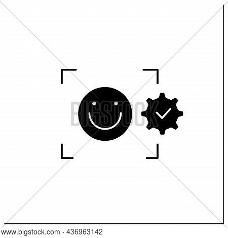 Facial Emotion Recognition Glyph Icon. Detection Emotional States. Detecting Human Emotions From Fac