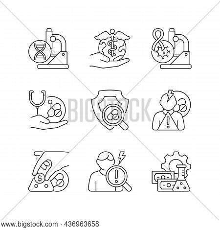 Medical Research Linear Icons Set. Genetic Disease Study. Check Safety New Medication. Adverse Effec