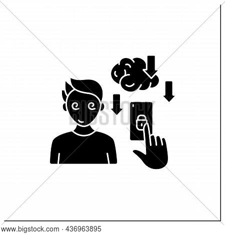 Smartphone Addiction Glyph Icon. Overuse Of Phone Reduces Productivity.phone Dependence. Overwhelmed