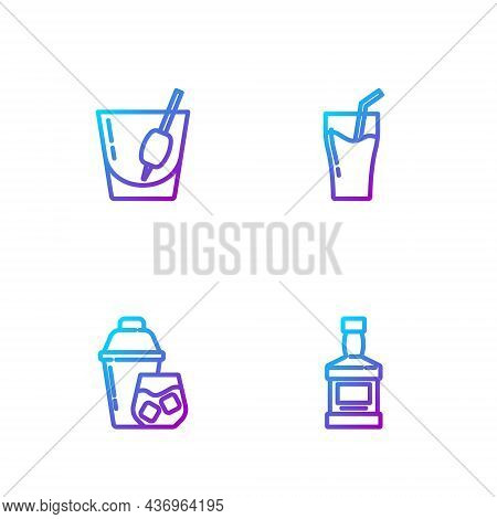 Set Line Whiskey Bottle, Cocktail Shaker, Bloody Mary And Glass Of Juice. Gradient Color Icons. Vect