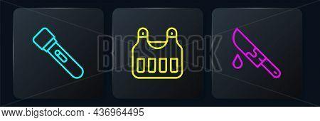Set Line Flashlight, Bloody Knife And Bulletproof Vest. Black Square Button. Vector
