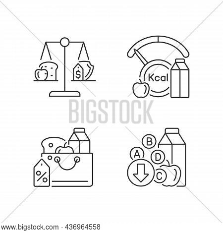 Insufficient Food Consumption Linear Icons Set. Malnutrition And Hunger Issue. Grocery Products Sale