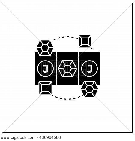Diamond Game Glyph Icon. Swap Diamonds. Three In Row. Jackpot. Online Game Concept. Filled Flat Sign