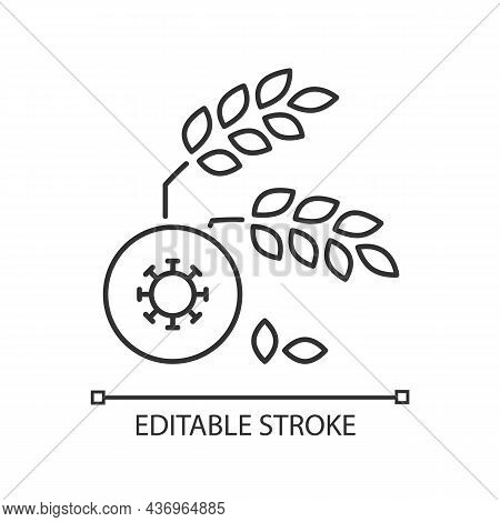 Agricultural Disease Linear Icon. Harvest Loss Leads To Starvation. Crop Illnesses And Pests. Thin L