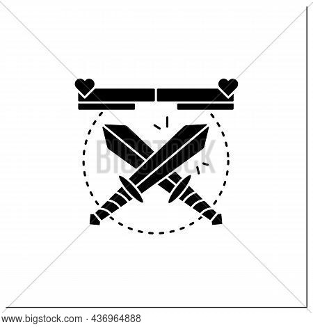 Fighting Game Glyph Icon. Crossed Swords. Fight In Hand-to-hand Combat Between Rivals. Limited Space
