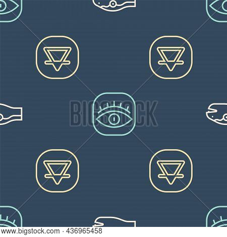 Set Line Snake, Earth Element And Masons On Seamless Pattern. Vector