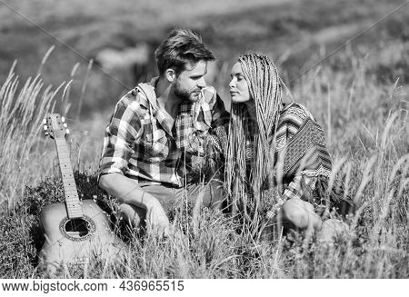 Fresh Air And Pure Feelings. Beautiful Romantic Couple Happy Smiling Faces Nature Background. Boyfri