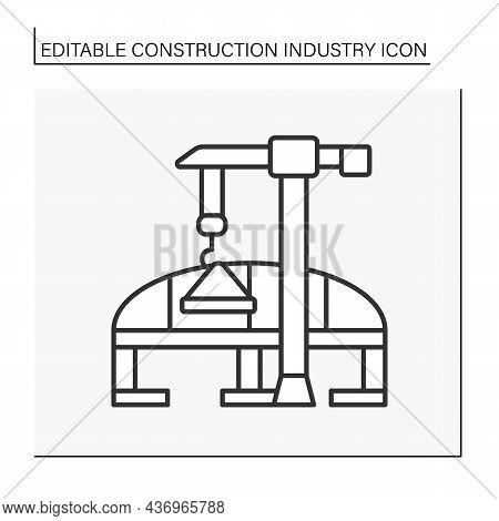 Bridge Construction Line Icon.structural Building. Bridge For Moving. Construction Industry Concept.