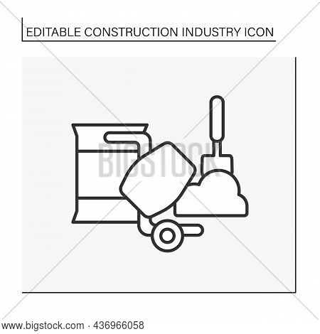 Concrete Production Line Icon.structural Material In Construction Industry. Building Material. Aggre