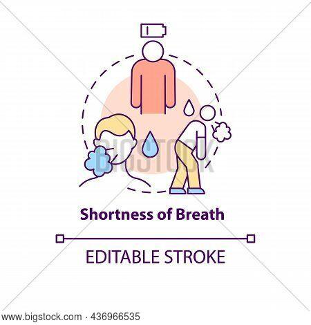 Breath Shortness Concept Icon. Pneumonia Sign Abstract Idea Thin Line Illustration. Trouble Breathin