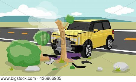 Damage Of Yellow Car Accidents Dash Off The Road. Land On The Grass And Hit A Large Tree Is Broken.
